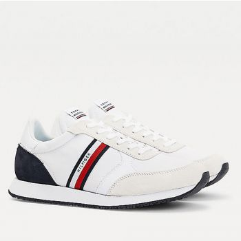 Scarpe Uomo TOMMY HILFIGER Sneakers Running linea Mix Stripes in Tessuto Bianco