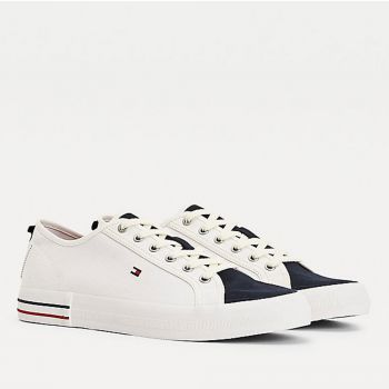 Scarpe Uomo TOMMY HILFIGER Sneakers linea Liability in Cotone Bianco e Blu