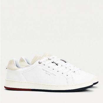 Scarpe Uomo TOMMY HILFIGER Sneakers linea Retro Tennis in Pelle colore Bianco
