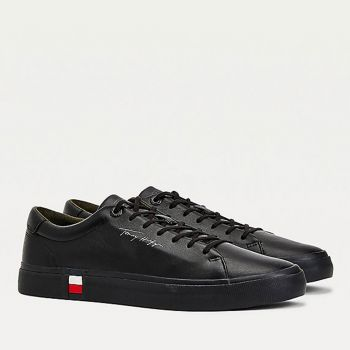 Scarpe Uomo TOMMY HILFIGER Sneakers linea Modern in Pelle Nera