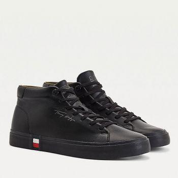 Scarpe Uomo TOMMY HILFIGER Sneakers Alte linea Modern in Pelle Nera
