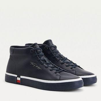 Scarpe Uomo TOMMY HILFIGER Sneakers Alte linea Modern in Pelle Blu