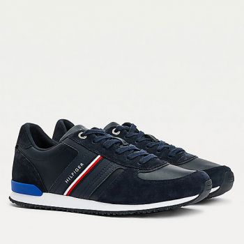 Scarpe Uomo TOMMY HILFIGER Sneakers Running linea Iconic in Pelle e Camoscio Blu