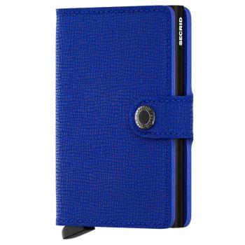 Porta Carte con Clip SECRID linea Crisple in Pelle Blu con RFID