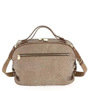 Borsa Donna a Mano BORBONESE linea Sexy Bag in Tessuto Op Colore Beige Marrone