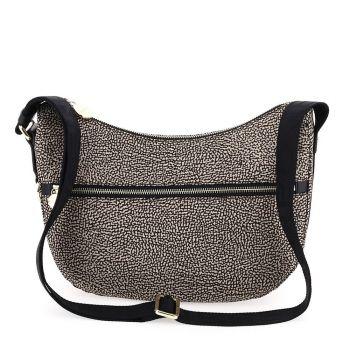 Borsa Donna a Tracolla Luna Bag Small BORBONESE in Tessuto linea Jet Op Colore Naturale e Nero
