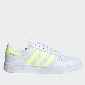 Scarpe Donna ADIDAS Sneakers linea Team Court W in Pelle colore Bianco e Giallo Fluo