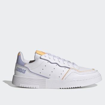 ADIDAS Supercourt Line – White Leather Sneakers with Lilac and Orange Details