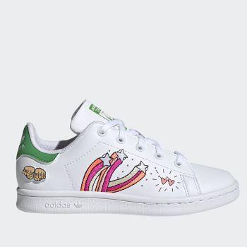 Scarpe Bambino ADIDAS Sneakers linea Stan Smith C colore Bianco e Verde