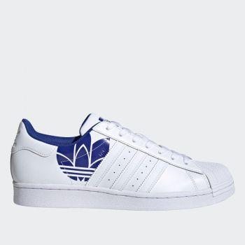 Scarpe Uomo ADIDAS Sneakers linea Superstar in Pelle Bianca con Maxi Logo Royal Blu