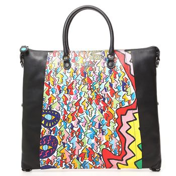 Borsa Donna a Mano con Tracolla GABS Bellona Trasformabile in Pelle stampa LAB Faces Powerful Large