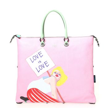 Borsa Donna a Mano GABS G3 Super Trasformabile in Pelle stampa Love is Love Large
