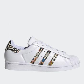 Scarpe Donna ADIDAS Sneakers linea Superstar W in Pelle colore Bianco e Zebrato