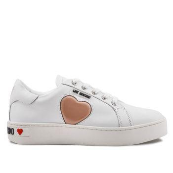 Sneakers Donna Love Moschino in Pelle Bianca con Cuore Rosa Cipria