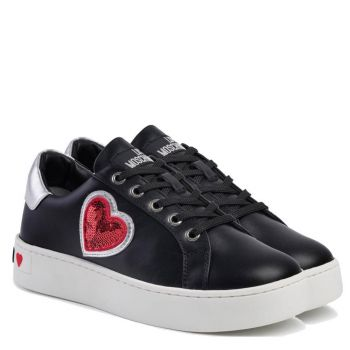 Sneakers Donna Love Moschino in Pelle Nera con Cuore
