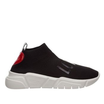 LOVE MOSCHINO Black Low Knit Sneakers