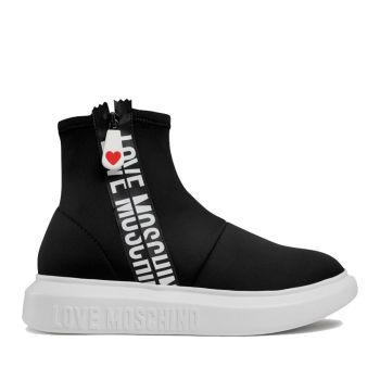 LOVE MOSCHINO Zipper Line – Black Neoprene Sock Sneakers