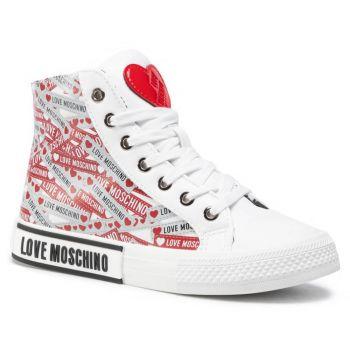 Scarpe Donna LOVE MOSCHINO Sneakers Alte Bianche con Logo