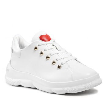 LOVE MOSCHINO White Leather Sneakers with Heart Studs