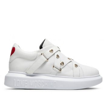 Scarpe Donna LOVE MOSCHINO Sneakers in Pelle Bianca linea Heart Eyelets