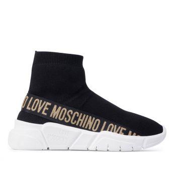 Scarpe Donna LOVE MOSCHINO Sneakers Running a Calzino Nera con Glitter Oro