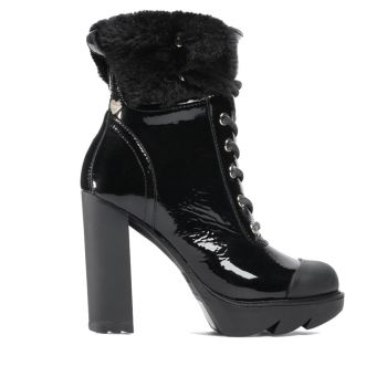 LOVE MOSCHINO Shiny Black Leather Ankle Boots With Eco Fur