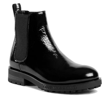 LOVE MOSCHINO Black Shiny Leather Beatle Boots For Women
