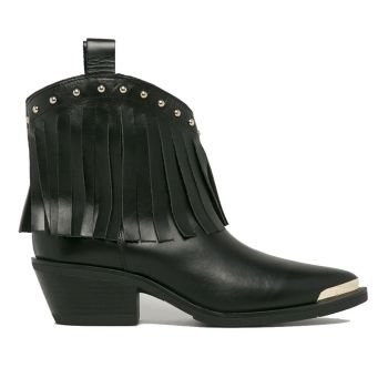 LOVE MOSCHINO Black Leather Texan Ankle Boots