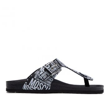 LOVE MOSCHINO Black Leather Flip Flop with White Logo