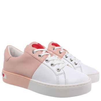 Sneakers Donna Love Moschino in Pelle Bicolor Bianco e Cipria