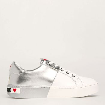 Sneakers Donna Love Moschino in Pelle Bicolor Bianco e Silver