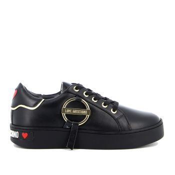 Scarpe Donna LOVE MOSCHINO Sneakers in Pelle Nera linea Round Buckle