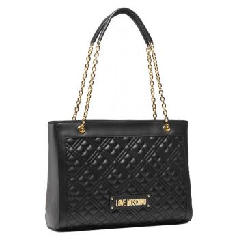 Borsa Donna Shopping Bag LOVE MOSCHINO linea Shiny Quilted colore Nero