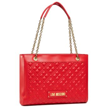 Borsa Donna Shopping Bag LOVE MOSCHINO linea Shiny Quilted colore Rosso