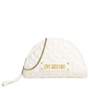 Borsa Donna Clutch con Tracolla LOVE MOSCHINO linea New Shiny Quilted Bianco