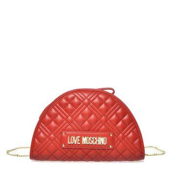 Borsa Donna Clutch con Tracolla LOVE MOSCHINO linea New Shiny Quilted Rosso