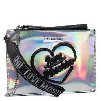 Pochette Donna LOVE MOSCHINO linea Hologram Iridescente con Logo