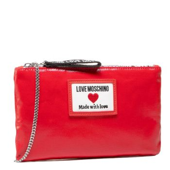 LOVE MOSCHINO Sporty Label Line – Shiny Red Clutch