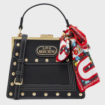 LOVE MOSCHINO Black Handle Bag with Studs and Foulard JC4046