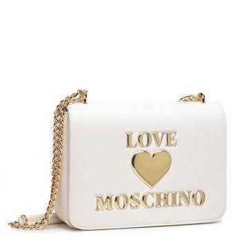 Borsa Donna a Spalla e a Tracolla LOVE MOSCHINO linea Shiny Padded Heart Bianco
