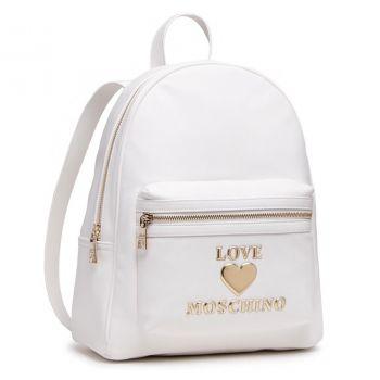 Zaino Donna con Zip LOVE MOSCHINO linea Padded Heart Bianco