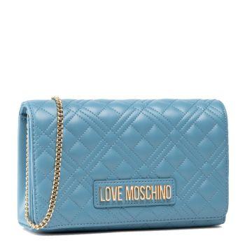 Clutch Donna con Tracolla LOVE MOSCHINO linea New Shiny Quilted Azzurro
