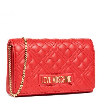 Clutch Donna con Tracolla LOVE MOSCHINO linea New Shiny Quilted Rosso