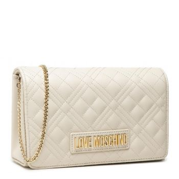 Clutch Donna con Tracolla LOVE MOSCHINO linea New Shiny Quilted color Avorio