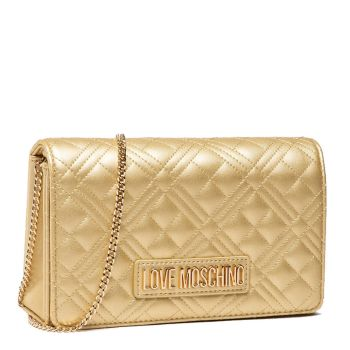 Clutch Donna con Tracolla LOVE MOSCHINO linea New Shiny Quilted color Oro