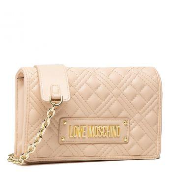 Borsa Donna a Tracolla LOVE MOSCHINO linea Shiny Quilted colore Naturale