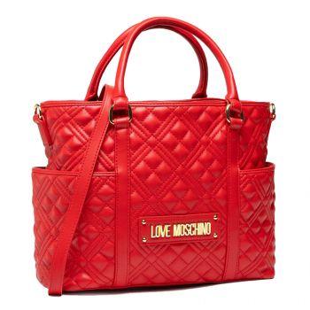 Borsa Donna a Mano con Tracolla LOVE MOSCHINO linea New Shiny Quilted Rosso