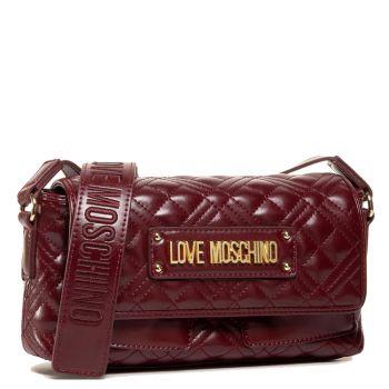 Borsa Donna a Tracolla con Pattina LOVE MOSCHINO effetto Trapuntato con Logo Bordeaux