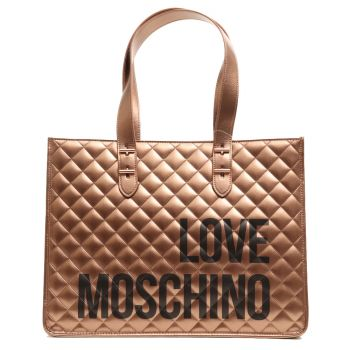 Borsa Donna Shopper a Spalla LOVE MOSCHINO linea I Love Shopping Bronzo
