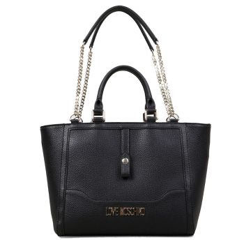 Borsa Donna Shopper Doppia Portabilità LOVE MOSCHINO linea Pebble Nero
